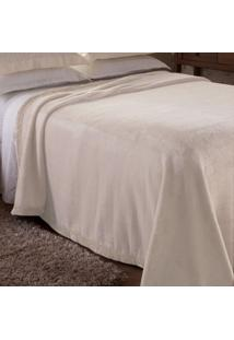 Cobertor Casal Poliéster Microfibra Unicolor Sublime Jolitex Marfim