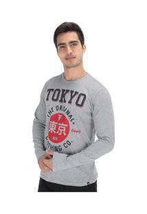 Camiseta Manga Longa Fatal Estampada 18183 - Masculina - Cinza Claro