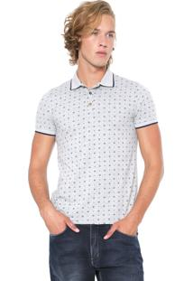 Camisa Polo Malwee Slim Quadrados Cinza