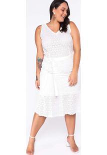 Vestido Almaria Plus Size New Umbi Midi Laise Bran