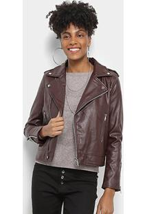 Jaqueta C & V Collection Biker Feminina - Feminino-Bordô