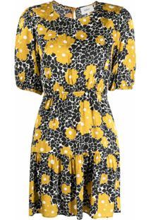 Ba&Sh Vestido Evasê Com Estampa Floral - Preto