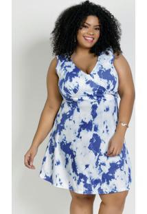 Vestido Curto Tie Dye Azul Com Recorte Plus Size