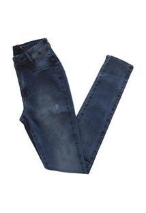 Calça Jeans Miller Feminina Modela O Bumbum Cintura Alta Azul