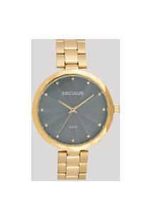 Relógio Analógico Seculus Feminino - 77039Lpskds1 Dourado