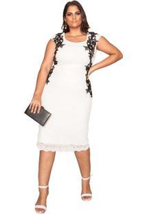 Vestido Almaria Plus Size Pianeta Renda Branco