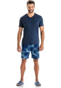 Pijama Tiago Slim Curto Azul Scuba/Eg
