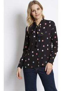 Camisa Geomã©Trica Texturizada- Preta & Rosa- Intensintens
