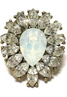 Anel Armazém Rr Bijoux Ouro Velho Cristal Swarovski White Opal