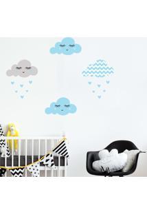 Adesivo De Parede Infantil Nuvens Chevron Azul