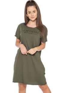 Vestido Feminino Com Escrita Califórnia Verde