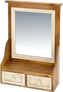 Armário Com Espelho- Bege & Marrom- 65X47X14,5Cmdecor Glass