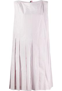 Thom Browne Vestido Listrado Com Pregas - Vermelho