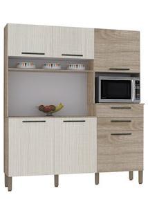 Cozinha Compacta Montesa 6 Portas Nogal/Arena - Kit'S Paraná