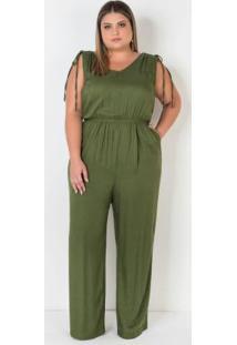 Macacão Plus Size Verde Mescla