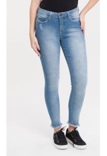 Calça Jeans Five Pockets Mid Rise Skinny - Azul Claro - 34
