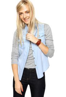 Camisa Jeans Fiveblu Strass Azul