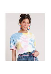 "Blusa Feminina Carnaval Estampada Tie Dye Love Is Love"" Manga Curta Decote Redondo Off White"""