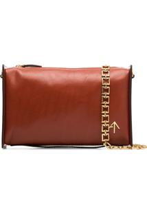 Manu Atelier Chain-Trim Leather Shoulder Bag - Vermelho