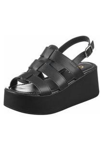 Sandália Plataforma Gigil Anabela Tiras Preta
