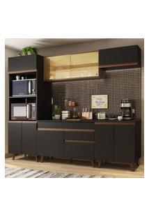 Cozinha Completa Madesa Reims 260002 Com Armário E Balcáo - Preto/Rustic Preto