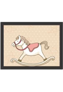 Quadro Decorativo Infantil Cavalo De Balanço Preto - Médio