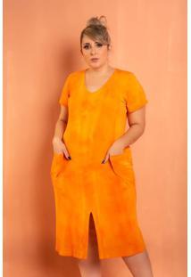 Vestido Fenda Na Frente Tie Dye Plus Size