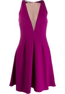 Stella Mccartney Vestido Evasê Com Recortes Translúcidos - Roxo