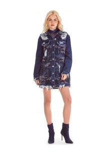 Jaqueta / Vestido Premium Jeans Com Termo Militar Jeans