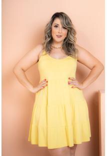 Vestido Curto Três Marias Amarelo Plus Size