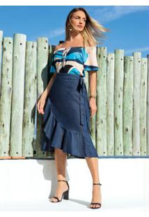 Blusa Ciganinha Abstrato Azul Mangas Curtas