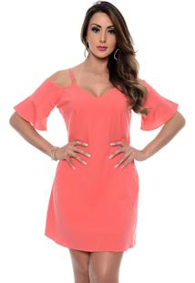 Vestido B'Bonnie Ombro Vazado Celine Coral