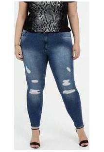 Calça Feminina Jeans Destroyed Skinny Plus Size Biotipo