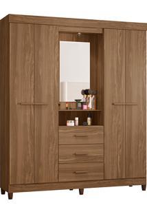 Guarda-Roupa Solteiro 4 Portas Com Espelho Ágata Fosco-Móveis Albatroz - Canela