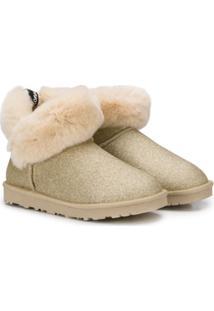 Monnalisa Ankle Boot Com Detalhe De Brilho - Dourado