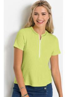 Blusa Canelada Com Zíper Verde Limão