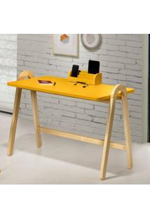 Escrivaninha Com Porta Objetos Ringo Maxima Natural/Amarelo