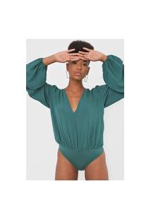 Body Colcci Mangas Bufantes Verde