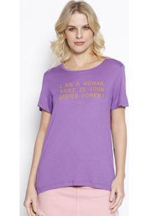 Camiseta ''I'M A Woman''- Roxa & Amarelo Escuro- Colcolcci