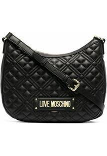 Love Moschino Quilted Logo Shoulder Bag - Preto