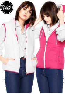 Colete Polo Wear Dupla-Face Pelo Rosa/Branco