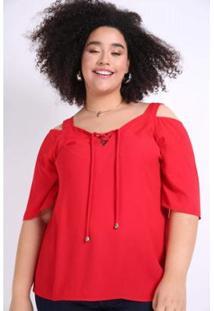 Blusa Kauê Plus Size Ombro Vazado Feminina - Feminino-Vermelho