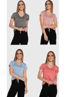 Kit 4 Camiseta Básica Baby Look Carbella Patrícia Básica Manga Curta Confort Casual Cinza Rosa Vermelha Azul