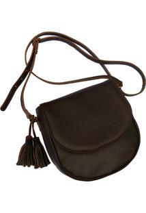 Bolsa Line Store Leather Saddle Couro Marrom Escuro. - Marrom - Feminino - Dafiti