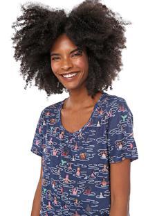 Camiseta Cantão Estampada Azul-Marinho
