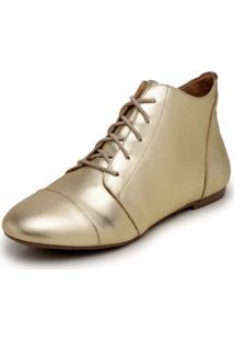 Bota Feminina Casual Confort Cano Curto Ankle Boot Cavalaria Metalizada - Dourado - Feminino - Couro LegãTimo - Dafiti