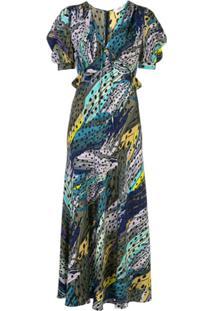 Dvf Diane Von Furstenberg Abstract Print Draped Sleeve Dress - Estampado