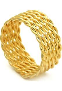 Anel Horus Import Fio Torcido Banhado Ouro Amarelo