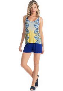 Pijama Nicole Curto Com Regata Azul/P