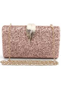 Bolsa Clutch Liage Brilhante Metal Brilho Retangular Alça Alcinha Dourada/Rosa
